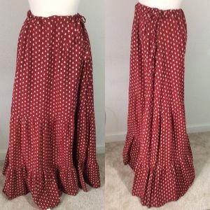 Krishna Cotton Indian Maxi Skirt Red